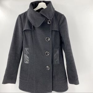 Mackage charcoal grey wool coat w/ leather pocket